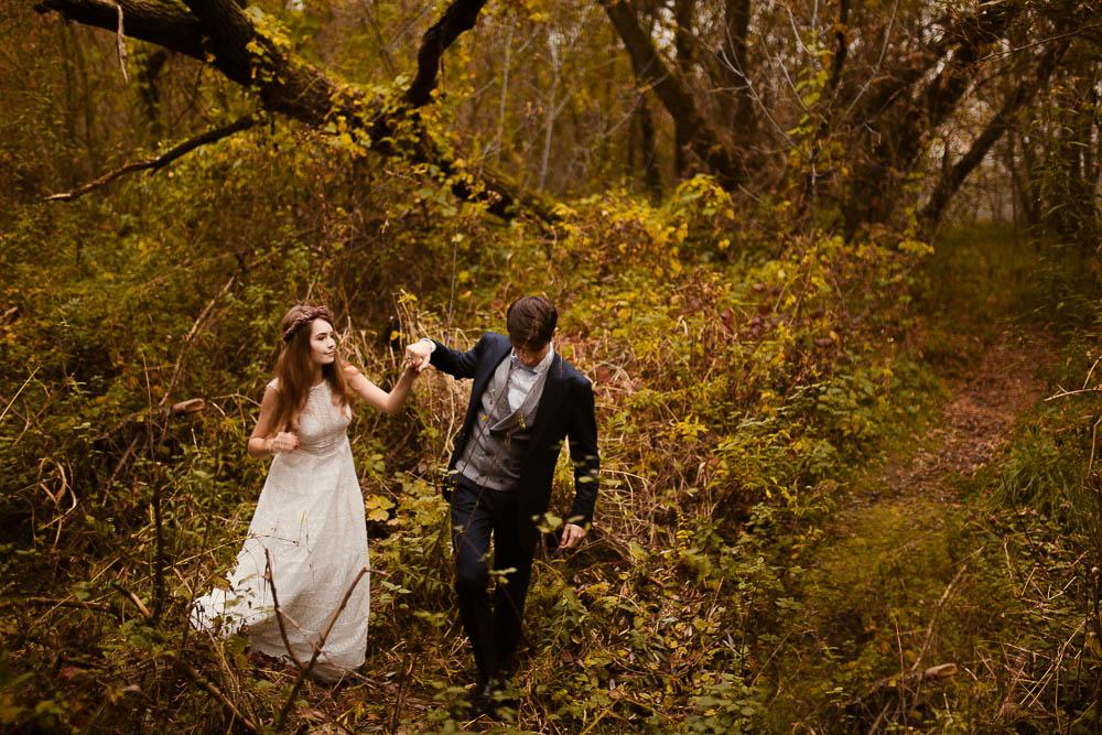 Paulina i Karol, romantyczny plener jesienny w sukni Anna Kara i swetrze 35
