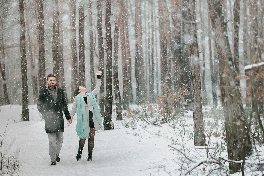 sesja narzeczenska zimą