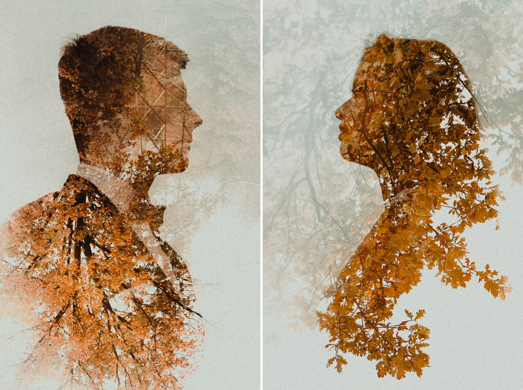 Angelika + Michał, plener jesienny, podwójna ekspozycja 54
